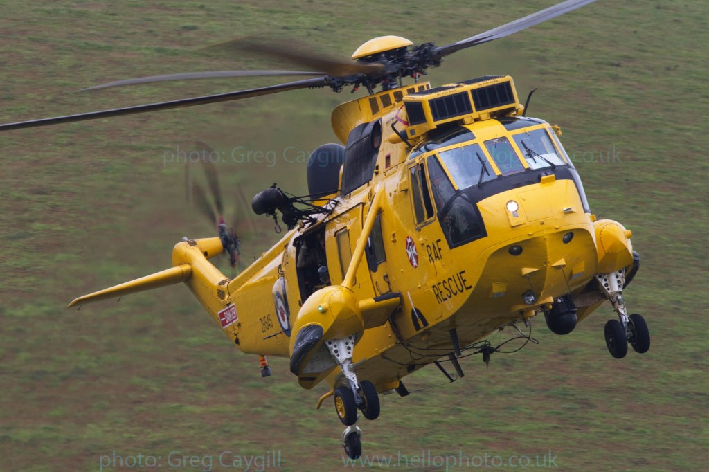 RAF A Flight 22 Sqn. Sea King. landing, with hill behind. img 9922
