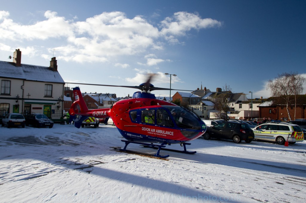 Devon Air Ambulance, about to take off, Exmouth.17 Dec. img 0011
