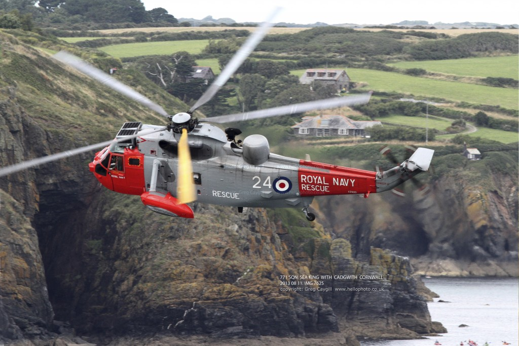 771 SQN. SEA KING WITH CADGWITH BACKGROUND. 2013 08 11. IMG 0982