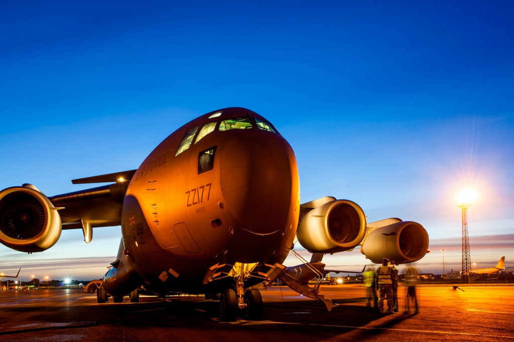 C-17 aircraft about to leave RAF Brize Norton for the Philippines to deliver emergency supplies
