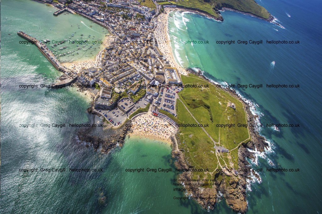 St. Ives, Helicopter view, Island and Harbour. large 50 mega image. Summer 2017