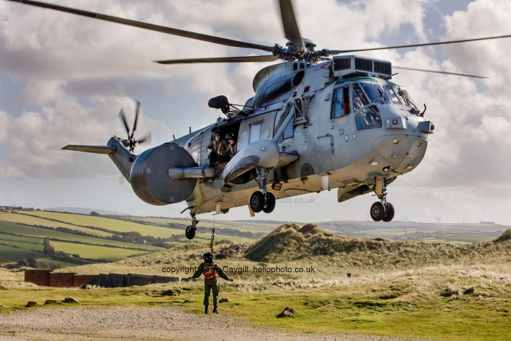 849 NAS Sea king from RNAS Culdrose, WInching at low level September 2016, Photos for Squadron use