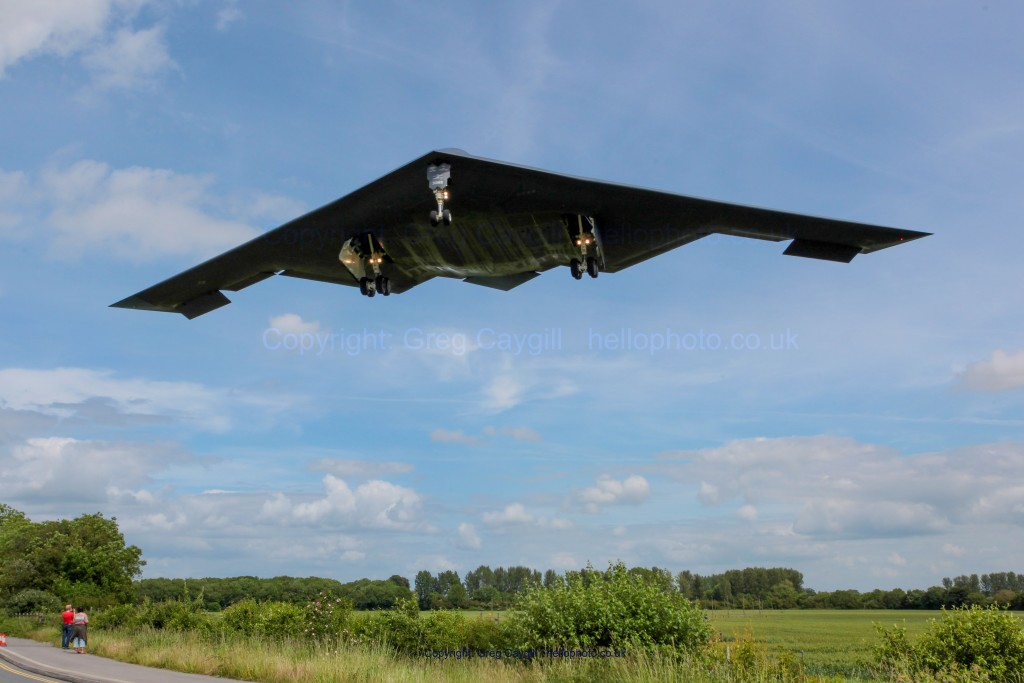 The B2 on approach to land