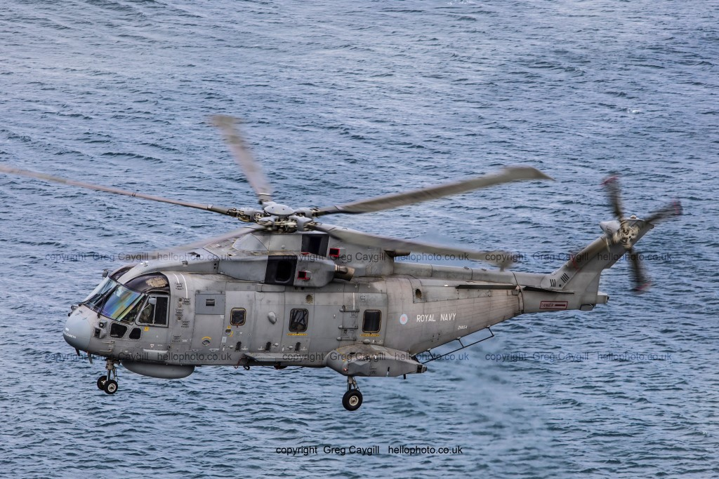 Royal Navy Merlin mk2, flying low over the sea. 2017