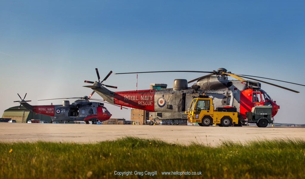 Royal Navy 771 Sqn. Sea King's SAR Helicopters at RNASCuldrose, awating a call out
